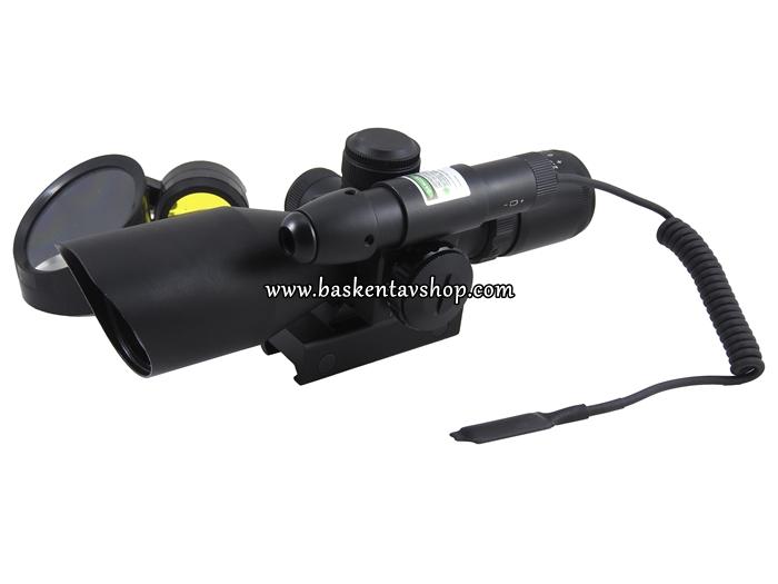 Bushnell 2.5-10x40 Işıklı Tüfek Dürbünü ve Yeşil Lazer-av13054