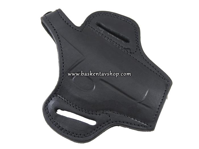Tam Kelebek Düğmeli Beretta 7.65 Deri Tabanca Kılıfı Siyah-av13143